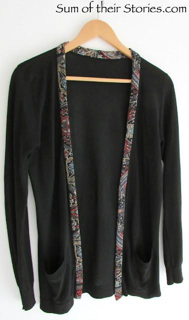 Fabric trimmed cardigan refashion