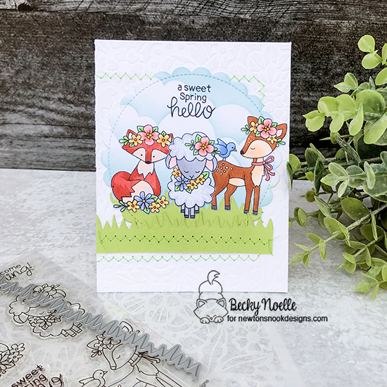 A sweet spring hello by Becky features Woodland Spring, Floral Lace, and Land Borders by Newton's Nook Designs; #newtonsnook