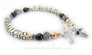 Lucas & Oliver Gold and Hematite Bali Bracelet with a Heart Toggle Clasp and an Angel Charm