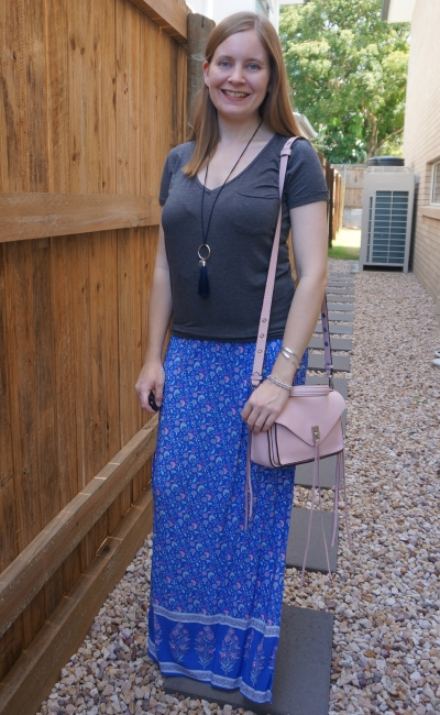 spring SAHM outfit with dark grey tee and pink floral print maxi skirt pastel rebecca minkoff bag | away from blue