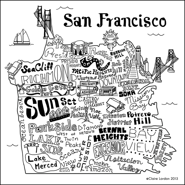 Claire Lordon Design San Francisco Illustrated Map