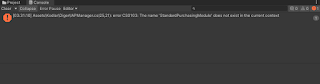 Unity StandardPurchasingModule does not exist in the current context Hatası Çözümü