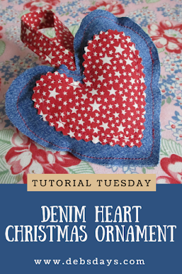 Homemade Denim Heart Ornament Decoration Sewing Project