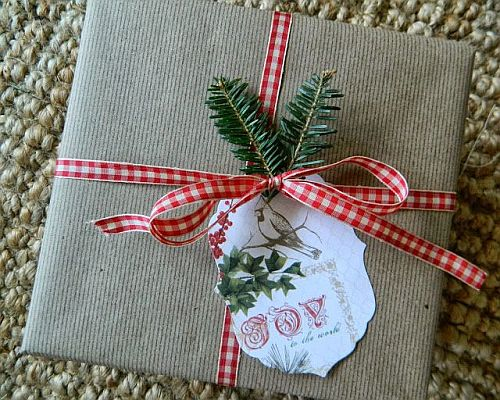 pretty eco-friendly wrapping with red and white ribbon