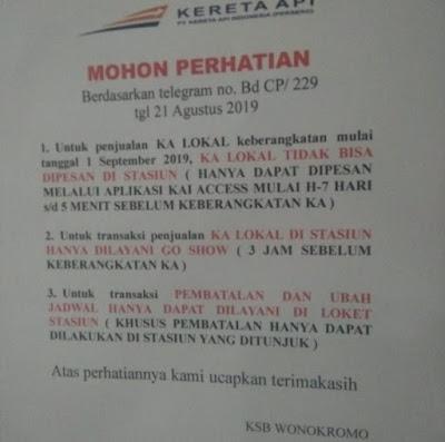 Tiket KA Lokal Tidak Bisa Dipesan