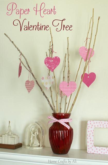 scrapbook paper valentine heart tree cricut explore decor display