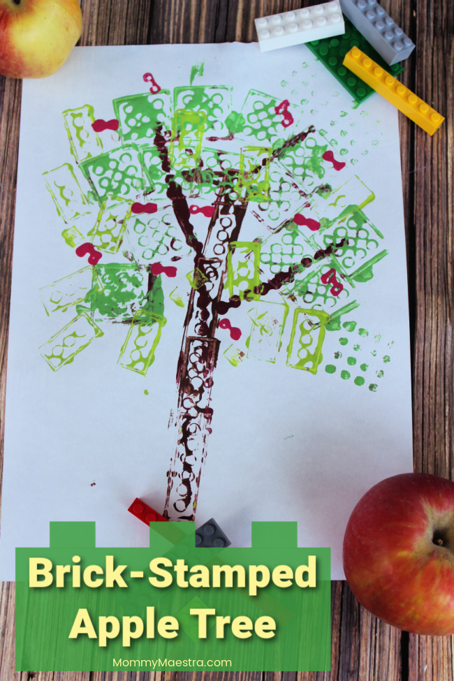 LEGO-stamped apple tree activity for kids
