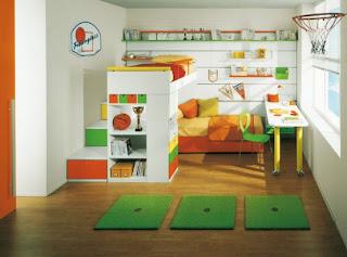 Ideias para um quarto de criança ou adolescente com espaço de dormir, trabalho e arrumação.