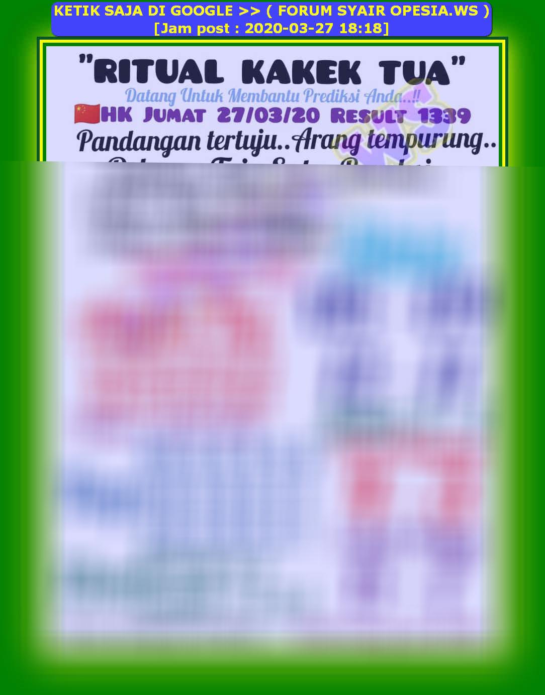 Kode syair Hongkong Jumat 27 Maret 2020 32