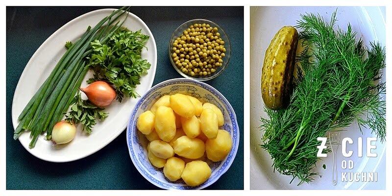 salatka, salatka do grilla, co do grilla, mlode ziemniaki, ogorki malosolne, koperek, mieta, wiosenna salatka, blog kulinarny, zycieod kuchni