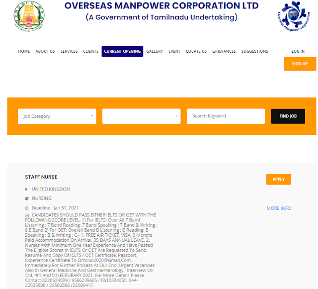 OMC 470 Staff Nurse Recruitment 2021 Apply Online