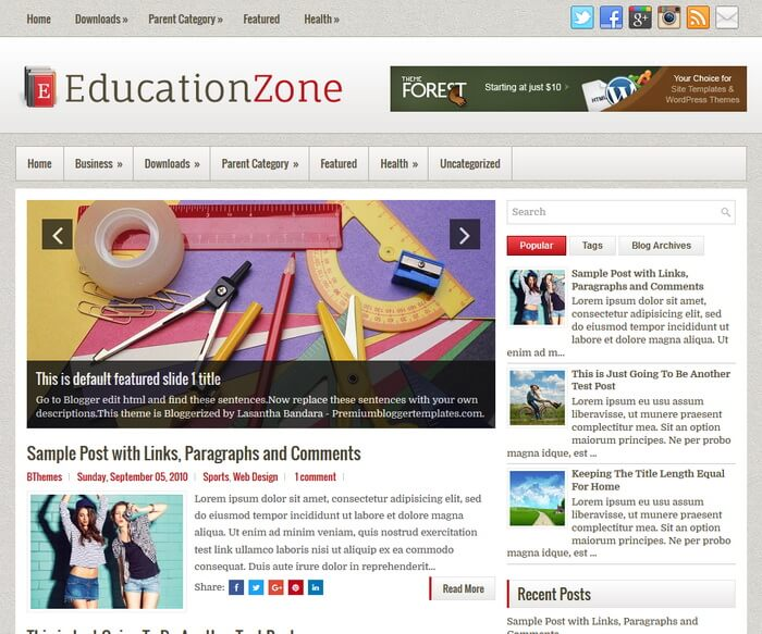 EducationZone Blogger Template