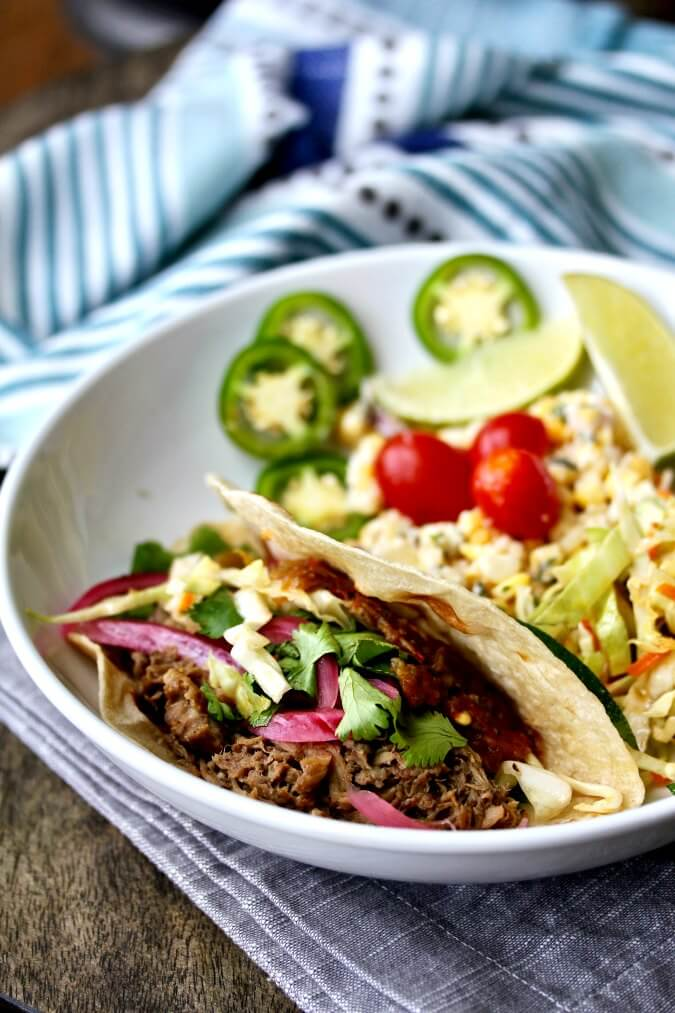 Steak Adobado Tacos with pickled red onions