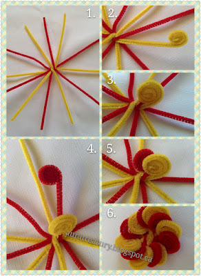 step by step making pipe cleaner flowers