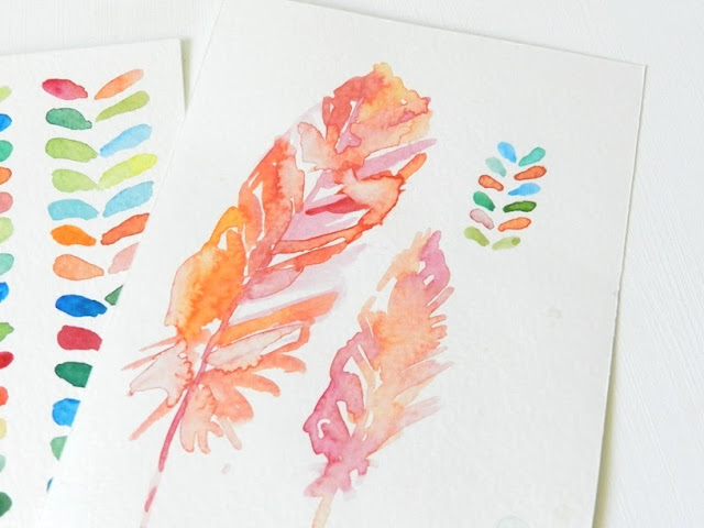 Pink and Coral Watercolor Feathers