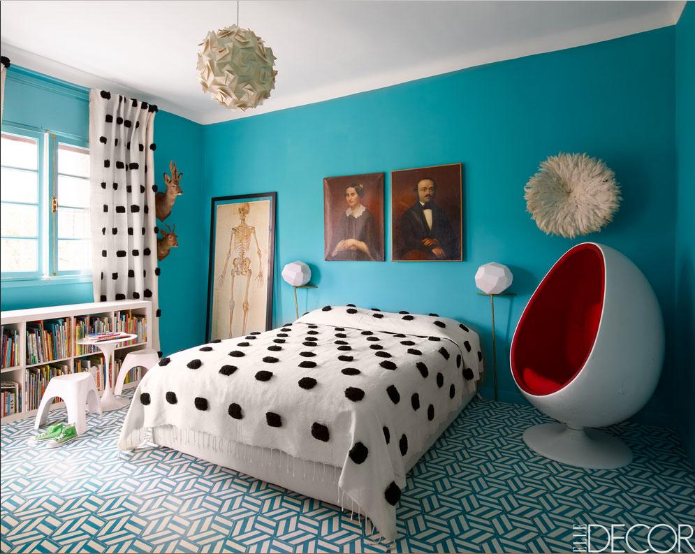 Kleine Schlafzimmer Blau Modern Design Mit Weiße Einrichtung