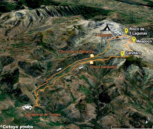 Mapa 3D de la ruta señalizada a las Cinco Lagunas en la Sierra de Gredos.