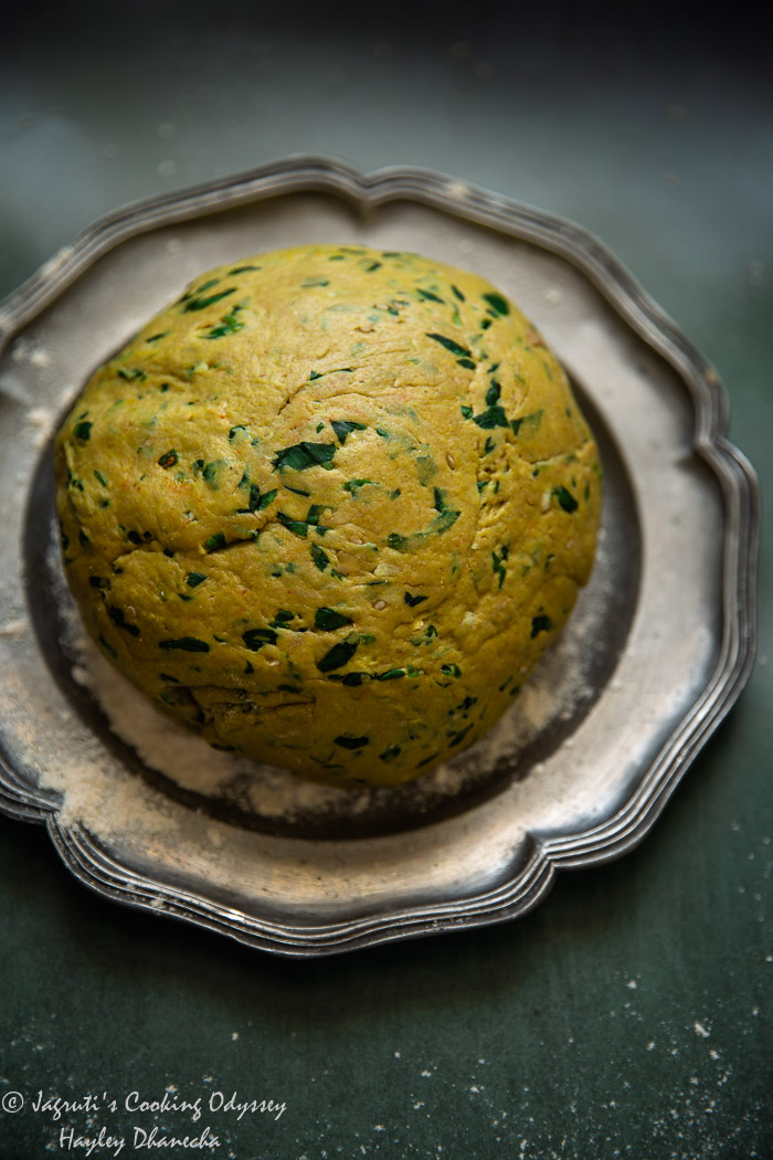 Kneaded dough of bajra methi dough on a pewter plate