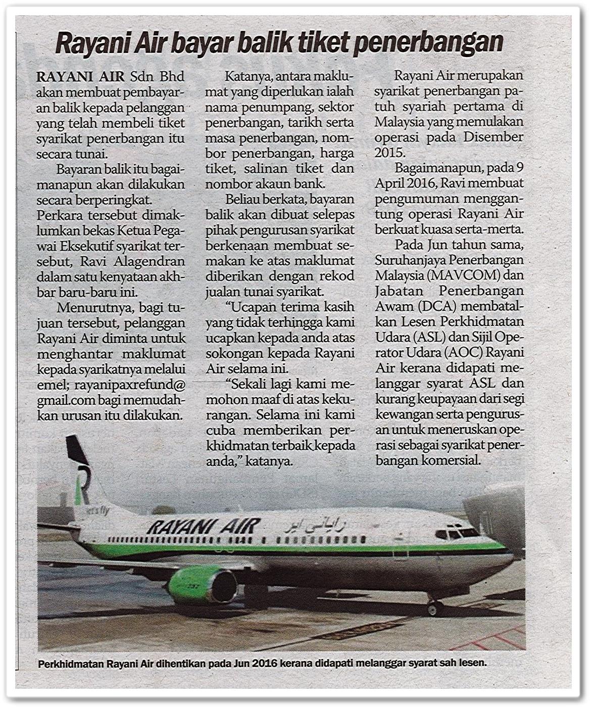 Rayani Air bayar balik tiket penerbangan - Keratan akhbar Sinar Harian 13 Julai 2019