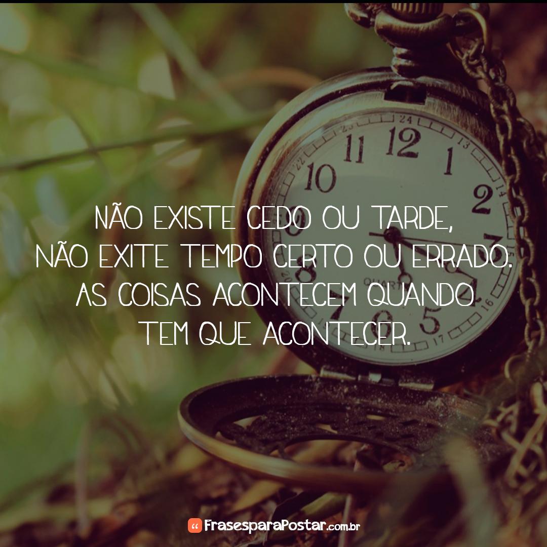 Não existe cedo ou tarde, não exite tempo certo ou errado. As coisas acontecem quando tem que acontecer.