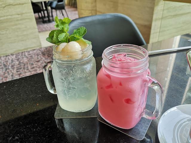 Iced Lychee Soda + Iced Bandung