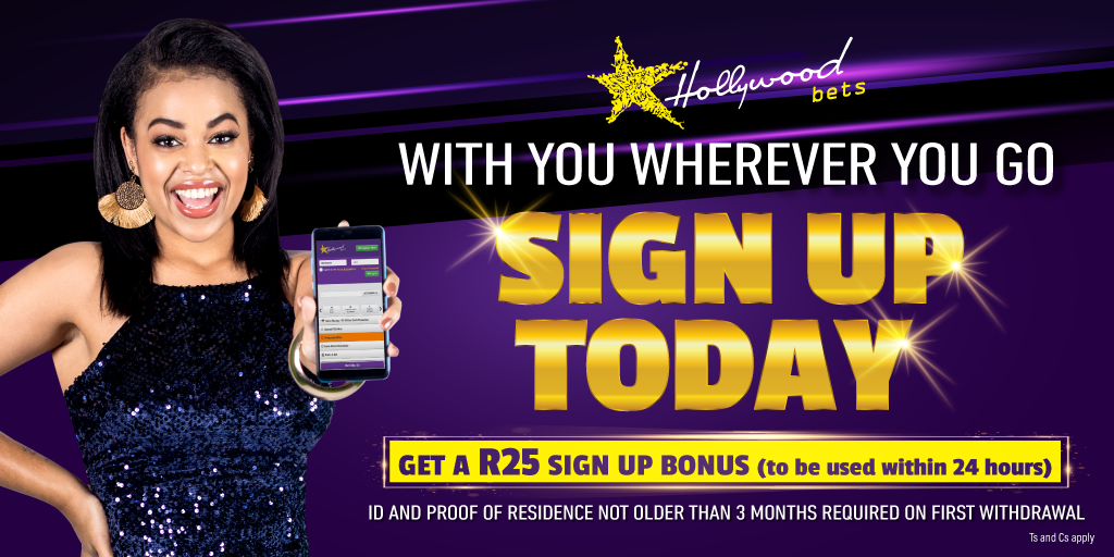Sign up now for a Hollywoodbets account and get a R25 sign up bonus