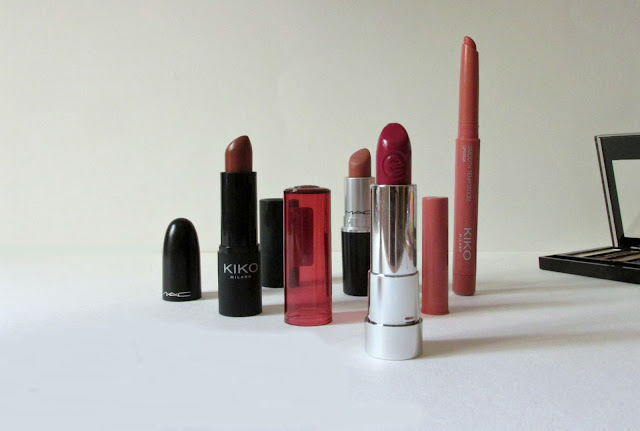 Kiko Milano Smart Lipstick in 925, MAC Matte Lipstick in Velvet Teddy, Kiko Milano Smooth Temptation Lipstick in 04, Essence Sheer & Shine Lipstick in 09, current lip picks