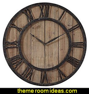 Aged Wood and Bronze Wall Clock Tuscany Vineyard Style decorating - Tuscan Wall mural stickers - Tuscan themed kitchen accessories - grape decor - Tuscan theme decor - Wine barrel decor - rustic decor - Venice Italy decorating ideas - Italian Cafe - Old World  furniture - luxury bedding - tuscan themed bedroom decor - Tuscany kitchen decor