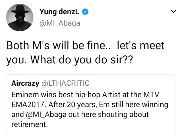 Between MI and a non fan who questioned the rapper