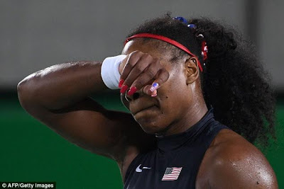 , Serena Williams Crashed out of Rio Olympics, after losing to 20th-ranked Ukrainian Elina, Latest Nigeria News, Daily Devotionals & Celebrity Gossips - Chidispalace
