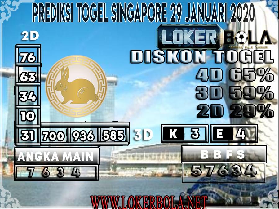 PREDIKSI TOGEL SINGAPORE LOKERBOLA 29 JANUARI 2020