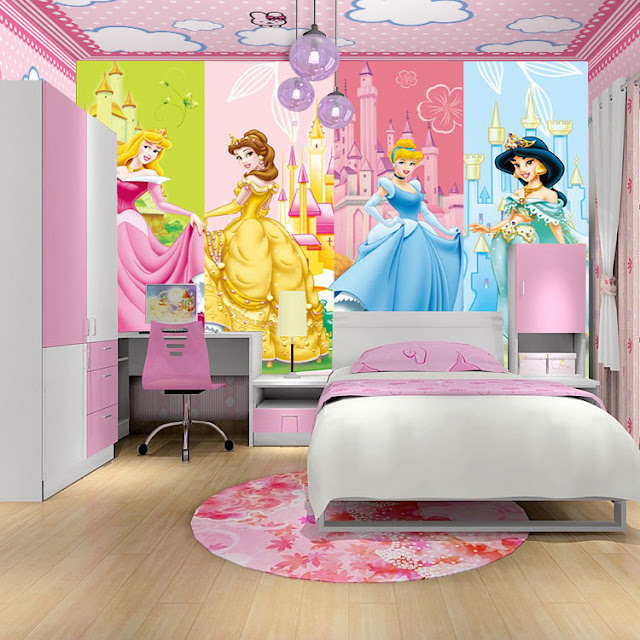 Disney princess wall mural Kids Room 3d Wallpaper Photo Wallpaper Princesses  castle