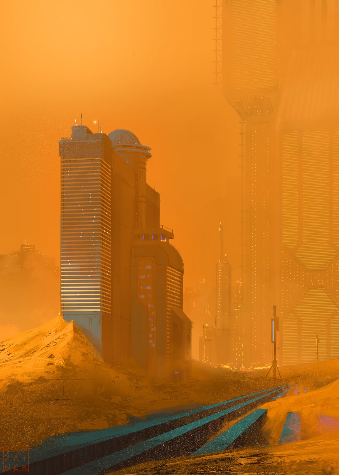 Sandstorm in a Martian city by Giacomo Tappainer