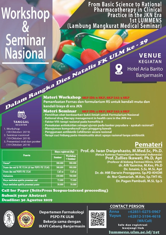 """WORKSHOP AND SEMINAR  From Basic Science to Rational Pharmacotherapy in Clinical Practice in the JKN Era"""" 18-19 Oktober 2019"""