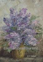 Lilas, huile 7 x 5 par Clémence St-Laurent - lilas mauves dans un vase
