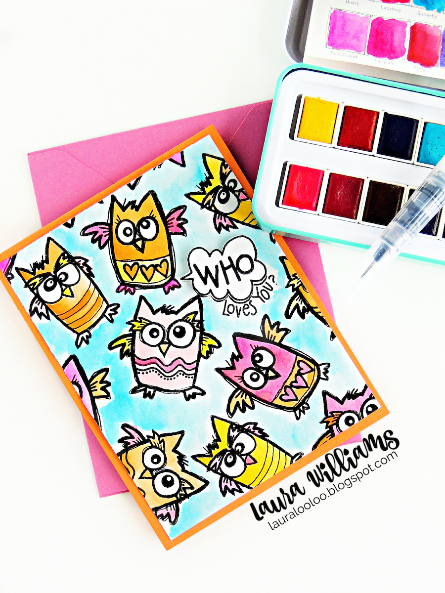 Handmade cardmaking ideas with clear stamps from Impression Obsession - who loves you owl card