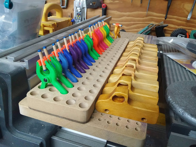 Handmade Wooden Toy Car Axel Dowels In A Shop Made Drying Rack
