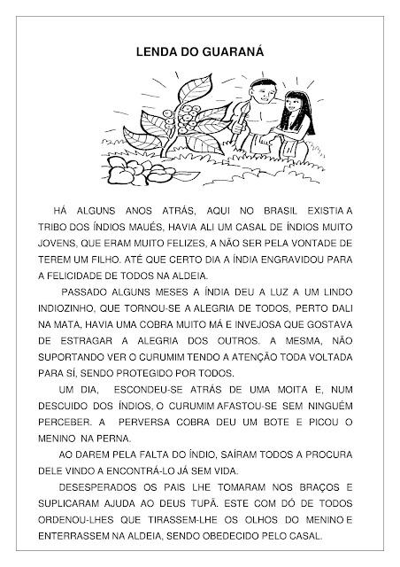 Atividade sobre Lenda do Guaraná PDF Grátis
