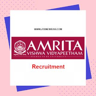 Amrita Vishwa Vidyapeetham, Coimbatore Recruitment 2020 for Assistant Professor & Project Assistant