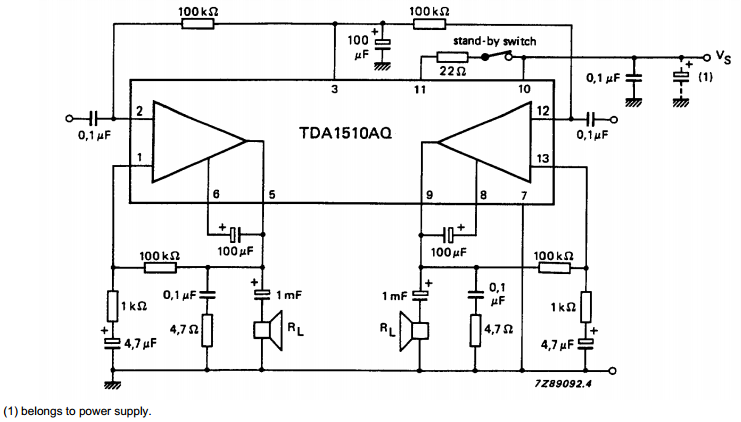 Schematic Diagram: 24 W BTL or 2 x 12 W stereo car radio