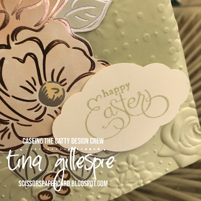 scissorspapercard, Stampin' Up!, CASEing The Catty, Flowering Foils SDSP, So Very Vellum SDSP, Stitched So Sweetly Dies, Country Floral 3DEF, Well Scripted, Stampin' Blends