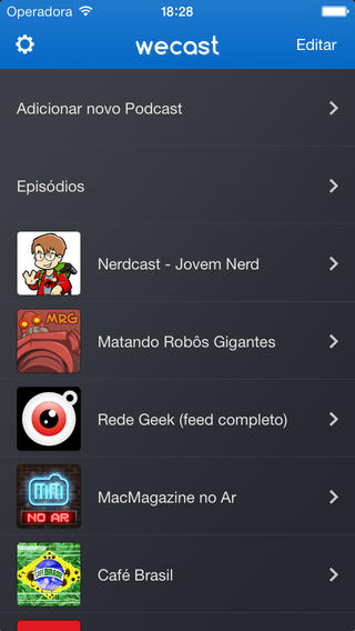 Screen Home do Wecast no IOS