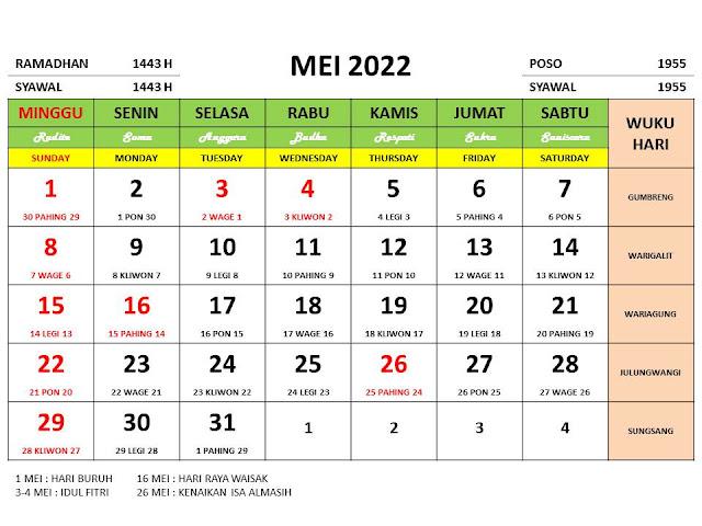 Kalender Bulan Mei 2022 dan Hari Peringatannya