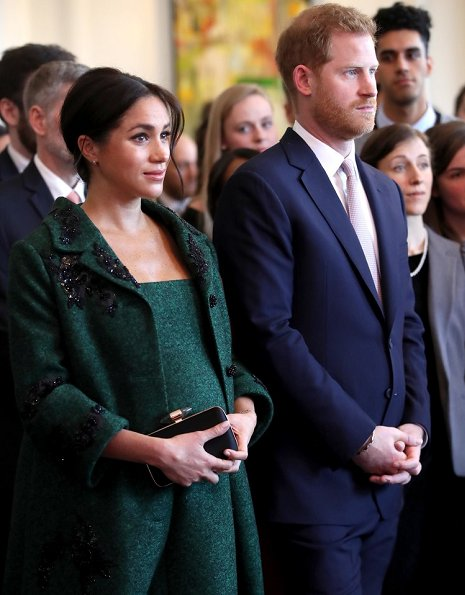 Duchess wore a custom Erdem green coat and dress, Aquazzura Deneuve pumps, Birks gold and opal earrings, a Kismet by Milka bracelet