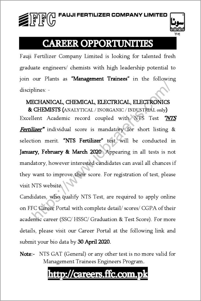 Fauji Fertilizer Company Limited Management Trainees Programs 2020 - II