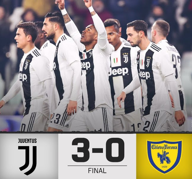 Juventus-Chievo 3-0: CR7 fallisce un penalty, segnano Douglas Costa Can Rugani. Napoli a +9 in classifica.