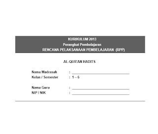 RPP Al Qur'an Hadits MI K13 Kelas 1-6