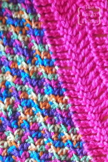 half double crochet and treble crochet stitch pattern for kids blanket by the funky felter