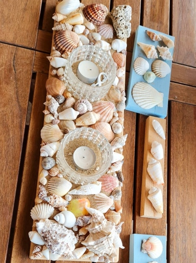 Shell Covered Wood Plank Candle Holder Idea