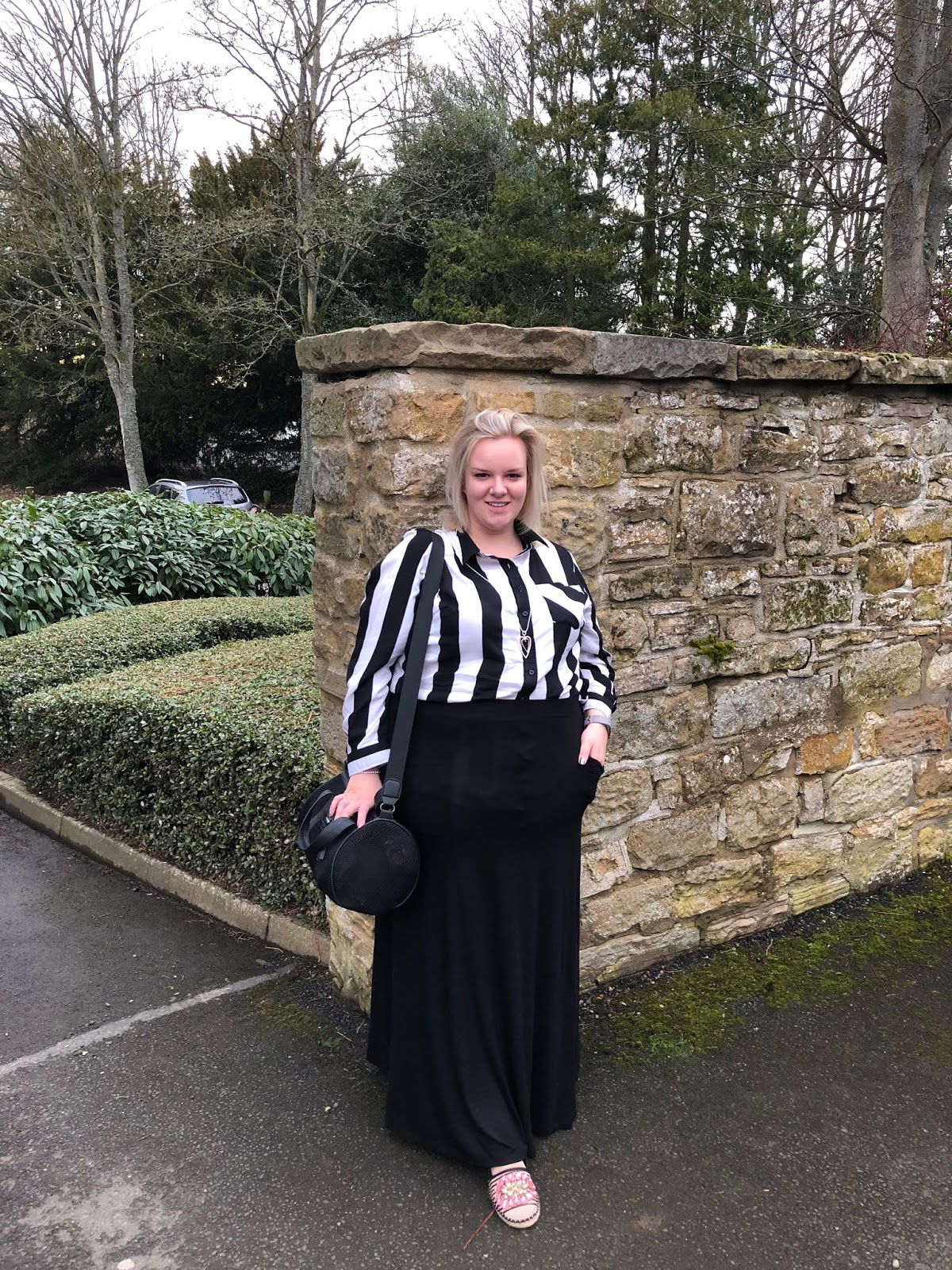 Yours Clothing Maxi Skirt and Black and White Striped Shirt on WhatLauraLoves Plus Size Blogger